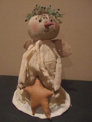 Primitive Country Fabric Angel on Bedspring Christmas Tree Topper (: