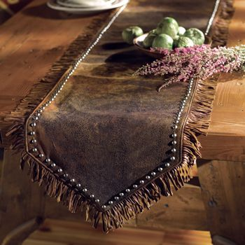 Palermo Table Runner - LOVE this table runner with an upscale twist; embellished with antiqued studs, hand-twisted fringe, and satin backing.  Almost looks like the leather I have already ~kc