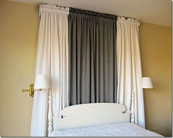 Easy to make Bed Hanging using a curtain rod. Maybe I should do this instead of a headboard.