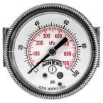 P9U 90 Series 2 in. Panel Mounted Pressure Gauge with 1/4 in. NPT Center Back Connect and Range of 0-100 psi/kPa