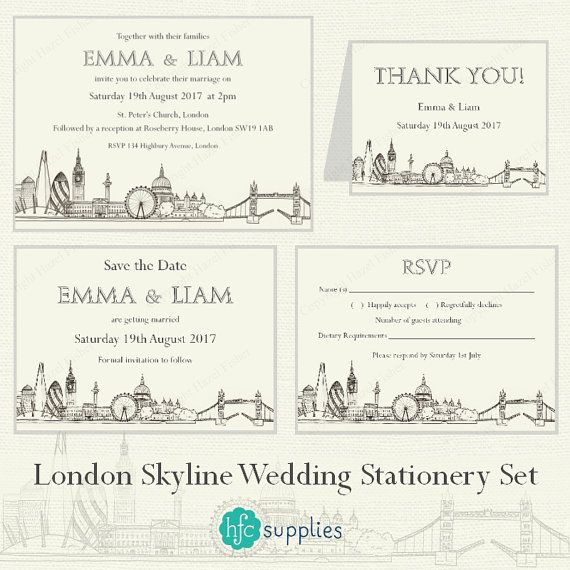 London Skyline printable Wedding Invitation Set  by hfcSupplies Etsy. Wedding Stationery Set - invite, thank you card, save the date, rsvp. Print Service also available - click through for details!