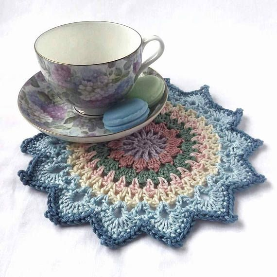 This pretty crochet mandala is perfect to add to your tea party table. A lovely home decor item.  Mandala Crochet Mandala Small Crochet Mandala Doily