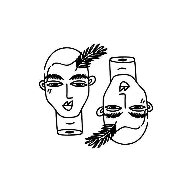 2  #proyecto89 #illustration #digitalart #digitalillustration #art #twosides #self #draw #drawings #dailydrawings #dailyart #heads #floating #mywork #blackandwhite #outlines #smalltattoo #flashtattoo #flash #ink #tattoo #tattoosketch