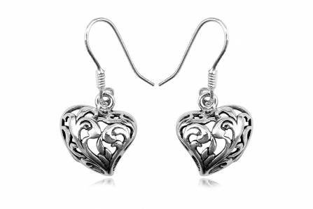 Buy 925 Silver Dangle Heart Earringsfor R225.00