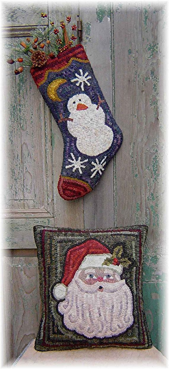 The Country Cupboard Christmas Santa Pillow and Stocking Hooked Rug Hooking PAPER Pattern Christmas Decor on Etsy, $7.52 CAD