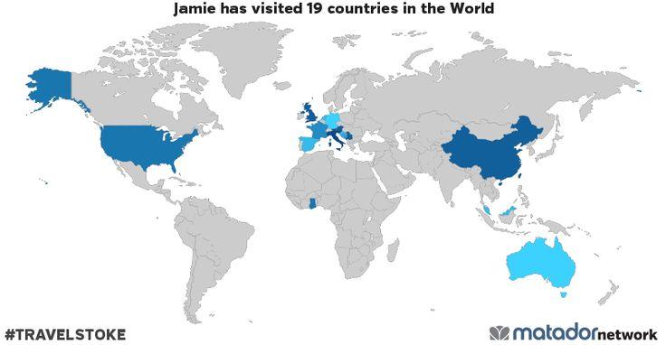 Jamie has been to: Australia, Austria, Bahamas, Bosnia and Herzegovina, China, Croatia, France, Germany, Ghana, Italy, Malaysia, Montenegro, Netherlands, Serbia, Serbia and Montenegro, Singapore, Spain, United Kingdom, United States
