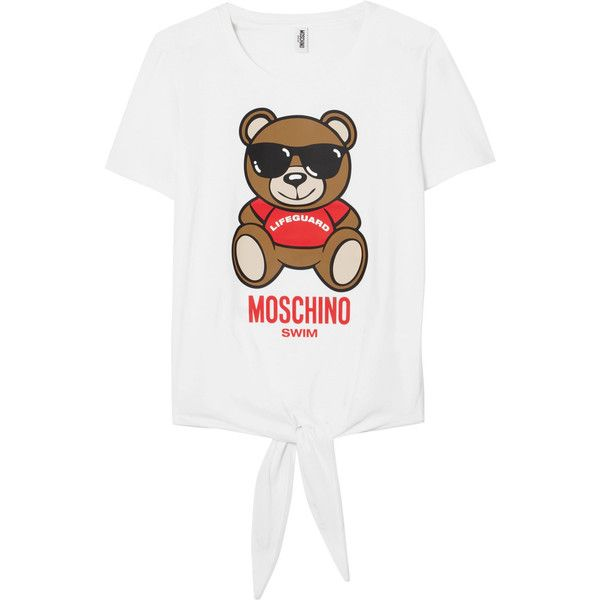 Moschino Printed cotton-jersey T-shirt (370 RON) ❤ liked on Polyvore featuring tops, t-shirts, white, moschino top, cotton jersey, multicolor t shirt, multi color tops and colorful t shirts