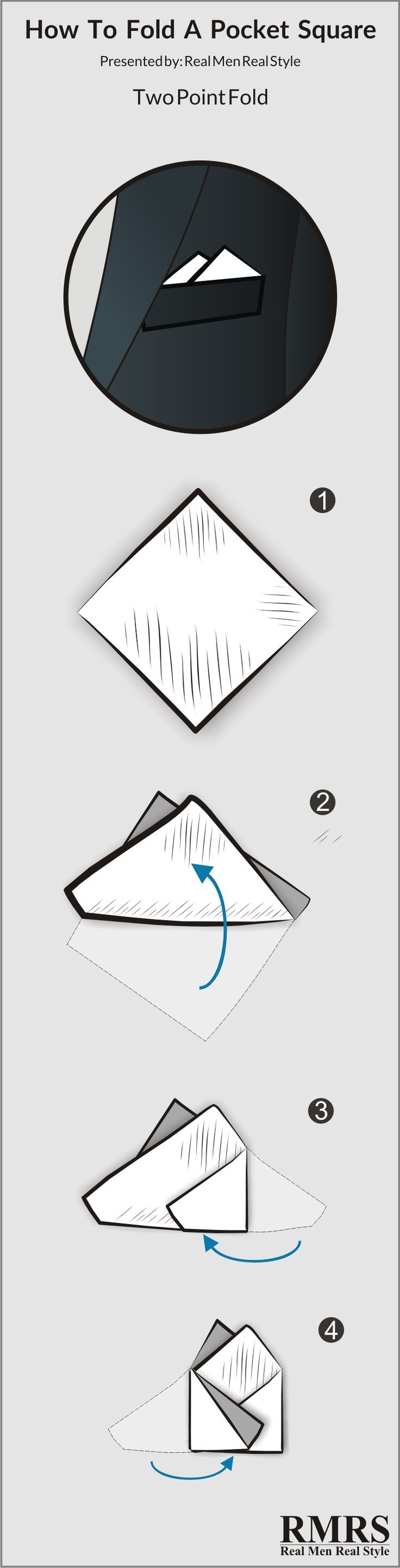 Two Point Pocket Square Fold Infographic