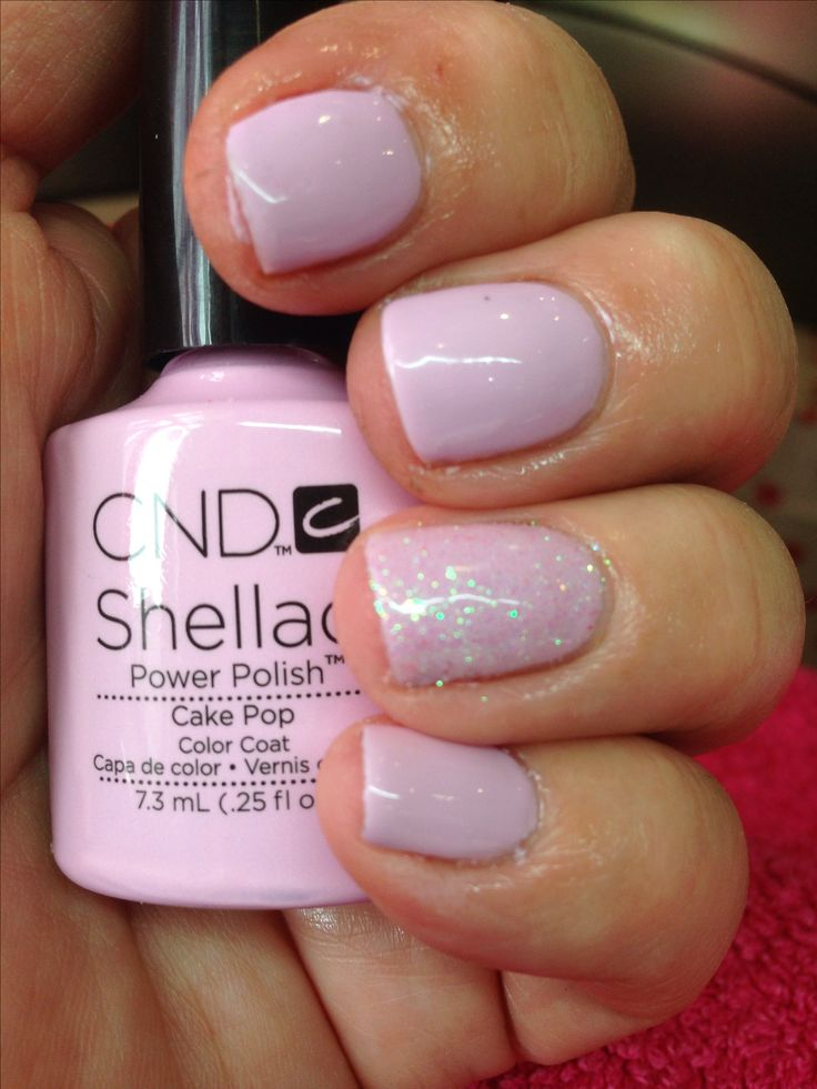 CND Shellac in Cake Pop with white holographic glitter