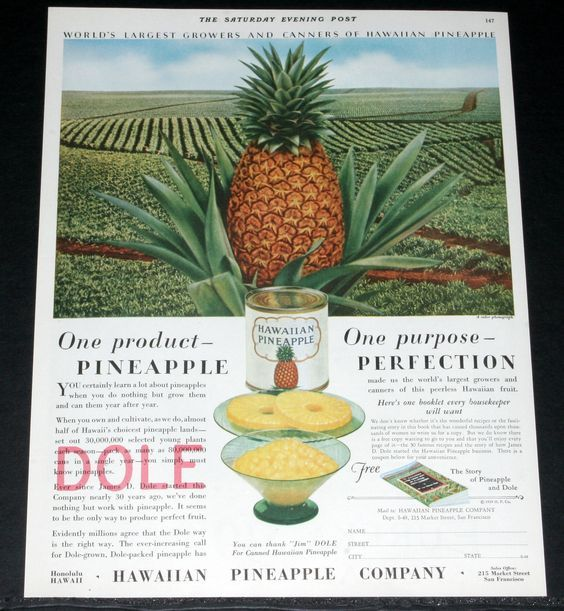 1929 old magazine print ad for DOLE Hawaiian Pineapple Company