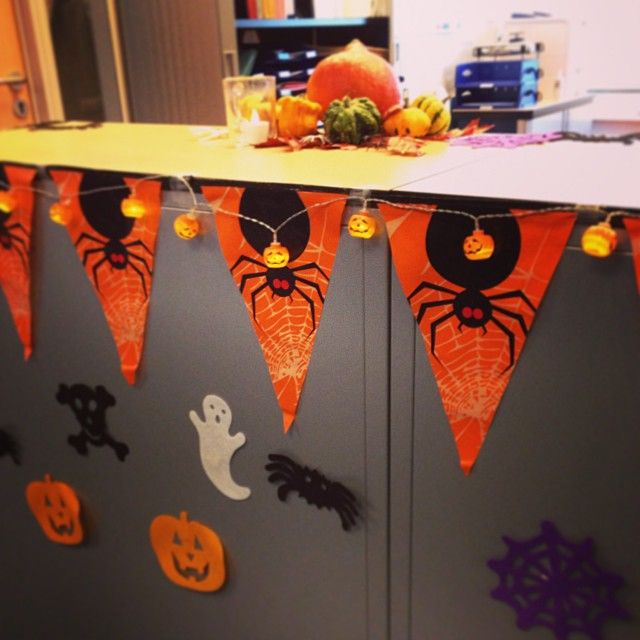 halloween office decorations using mini lanterns pumpkins and rechargeable tea lights