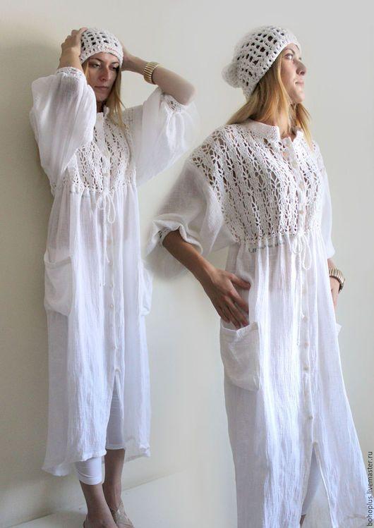 Платья ручной работы. Платье-рубашка  из хб пряжи  и льняной марлевки