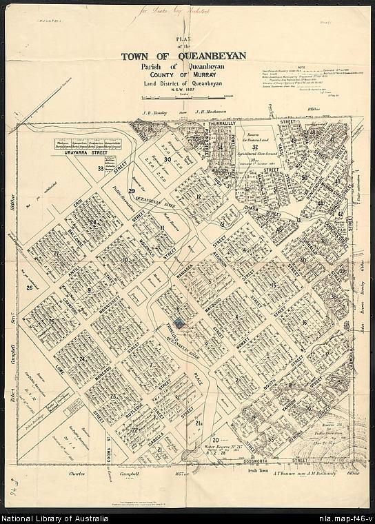 Lewis, G. (George), active 1862-1890? Plan of the town of Queanbeyan [cartographic material] Parish of Queanbeyan, County of Murray, Land District of Queanbeyan N.S.W. 1887