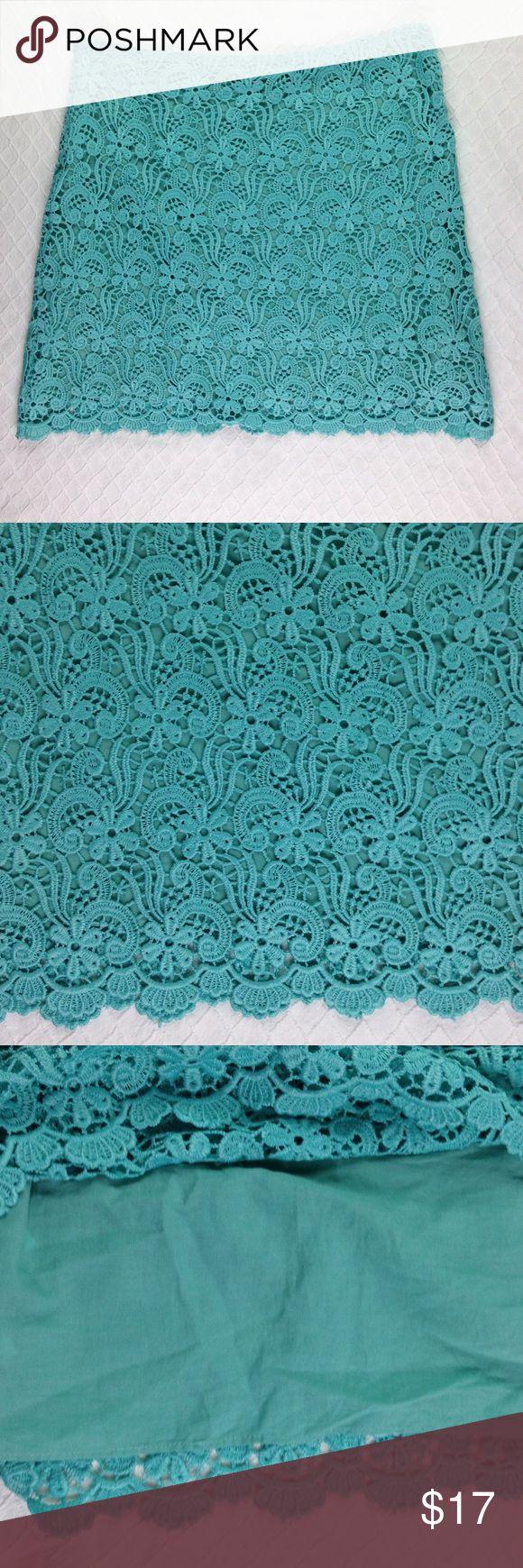 "Zara Crochet Overlay Lined Mint Green Skirt Medium Zara Woman Crochet Overlay Lined Mint Green Above the Knee Skirt   Size Medium  Outershell: 100% Polyester Lining: 100% Cotton  Measurements:  Waist: 31"" Length: 17""  (Inventory A30) Zara Skirts"