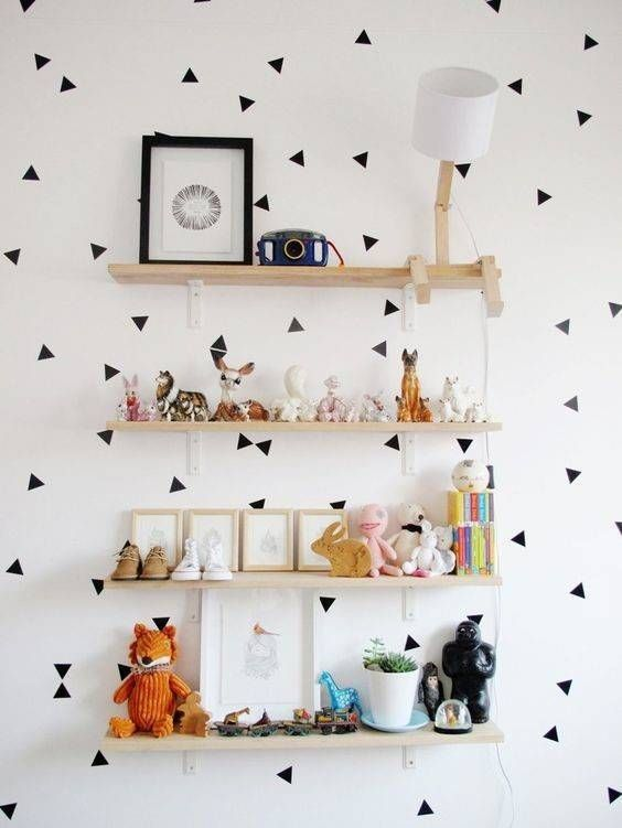 Kids Room Design Black And White Polka Dot Wallpaper And Mounted Shelves
