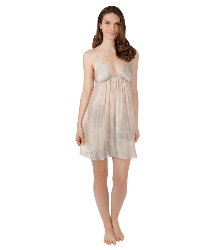 The Winter Solstice Chemise: Blushes of silver and pink are blended with warm greys which compliment most skin tones. The Winter Solstice Grecian inspired chemise has a gathered A-line body and adjustable spaghetti straps. 100% Silk.  Made in Canada