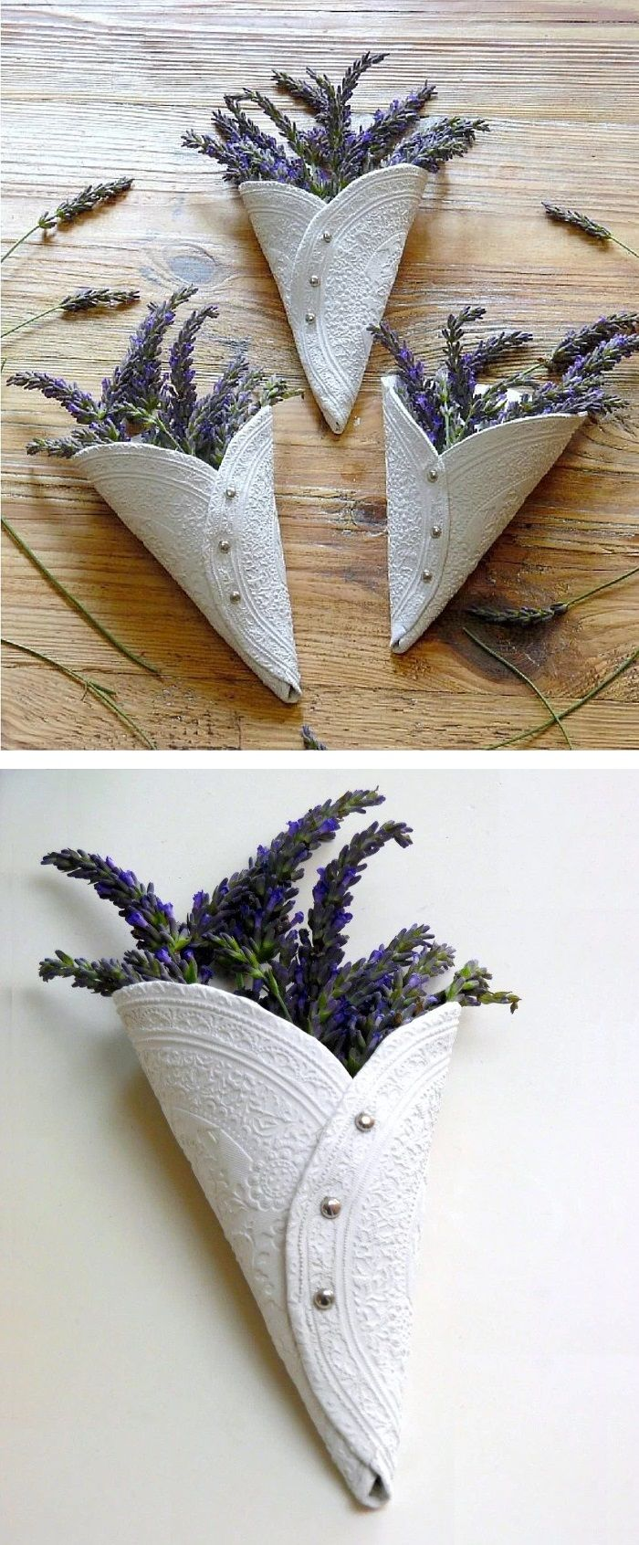 air drying clay project idea simple embossed lavender display cones adesso botinhas de. Black Bedroom Furniture Sets. Home Design Ideas