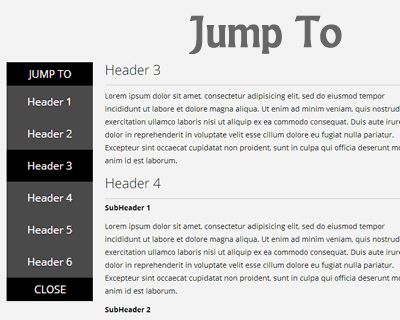 Jump To – Smooth Jump-To Sub Navigation Menu #jQuery #scroll #menu #jumpto #scrollto #navigation #ff