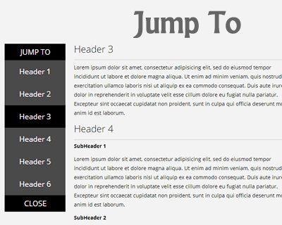 Jump To – Smooth Jump-To Sub Navigation Menu #jQuery #scroll #menu #jumpto #scrollto #navigation #ff