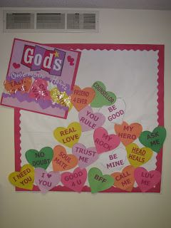 KeepsakeSewing: God's Conversation Hearts - I love this bulletin board for Valentine's Day theme, prayer, hearts.  repinned by Charlotte's Clips http://pinterest.com/kindkids/religious-education/