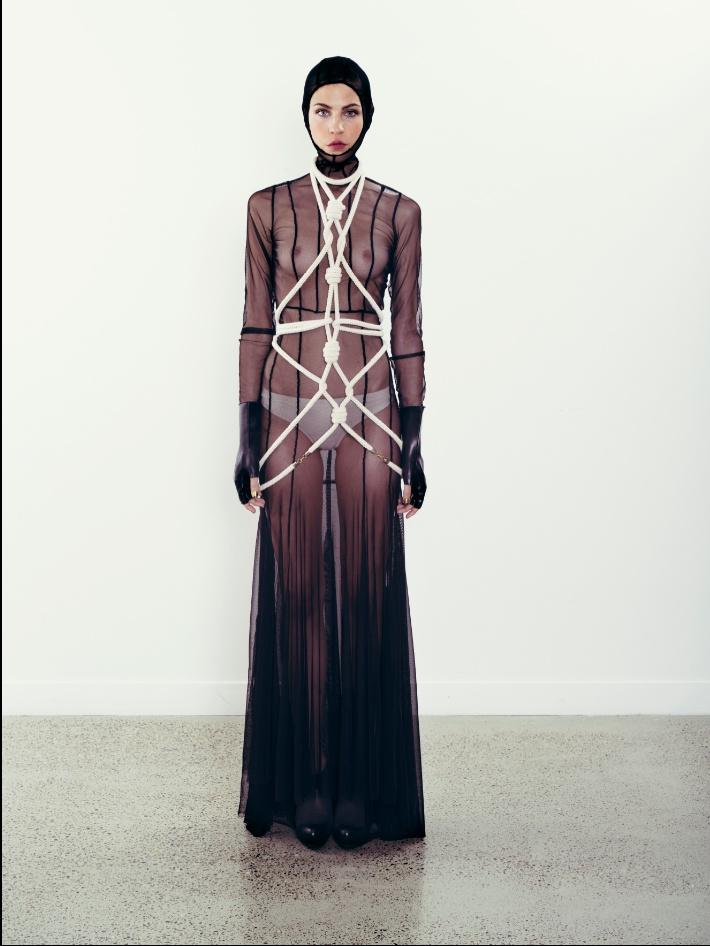 Rope work & Mesh hooded dress.