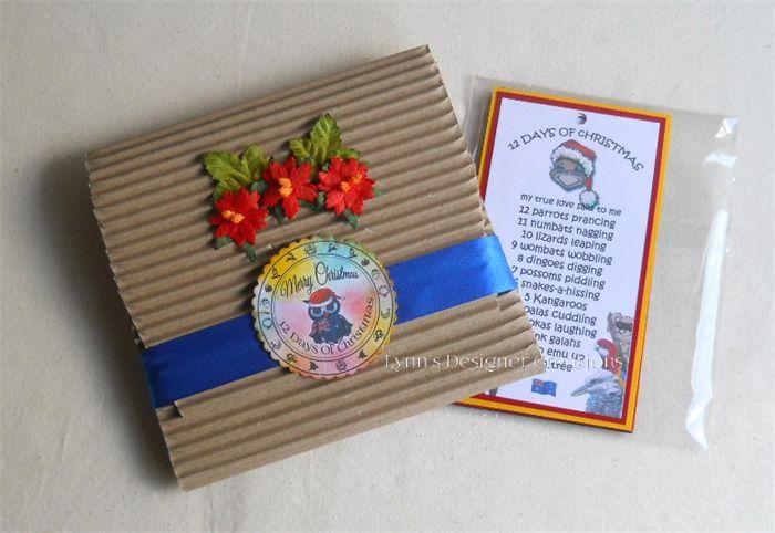 Australian 12 Days Of Christmas Tags Gift Set in Blue Decorative Pouch | Lynn's Designer Creations | madeit.com.au