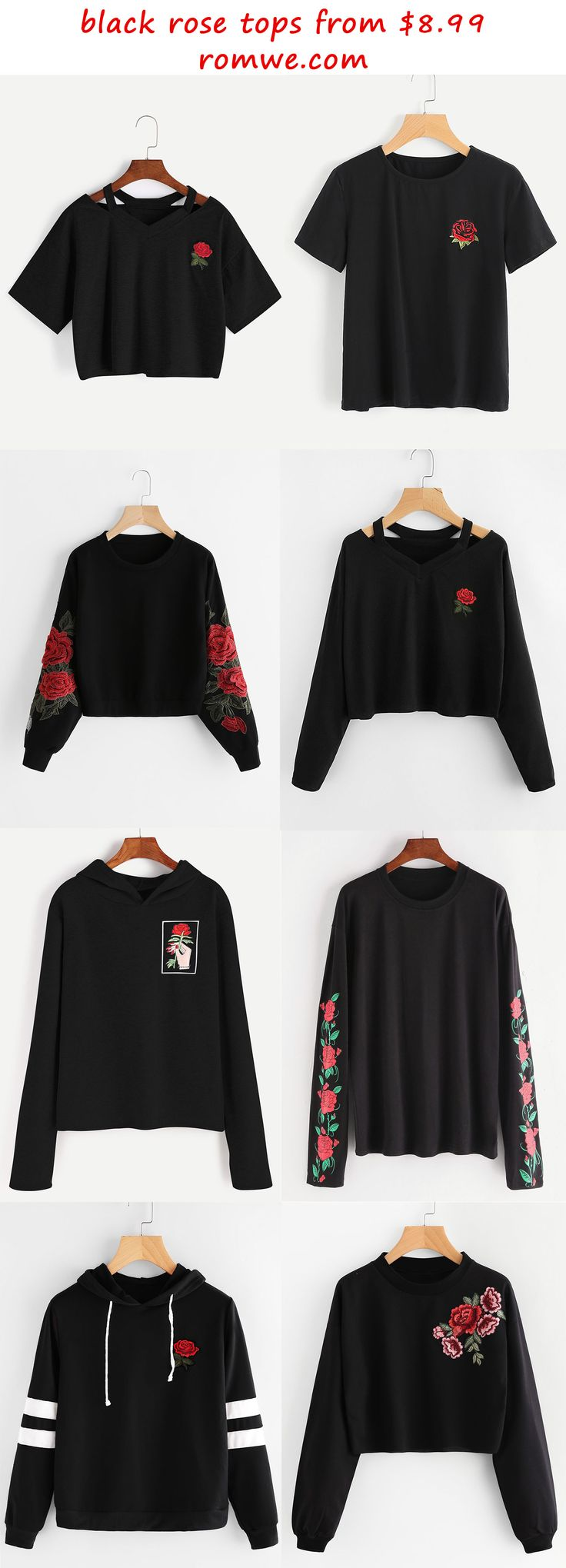 I have the first one. For the most part I would say it's a good quality shirt, but the rose is iron on so it doesn't fully stick onto the shirt, but if that doesn't bothers you then I would suggest getting it because for the price it's good quality. However, If it does bother you then I would either suggest getting it and just sewing it on or invest in a shirt that looks like it, but is guaranteed to be great quality.