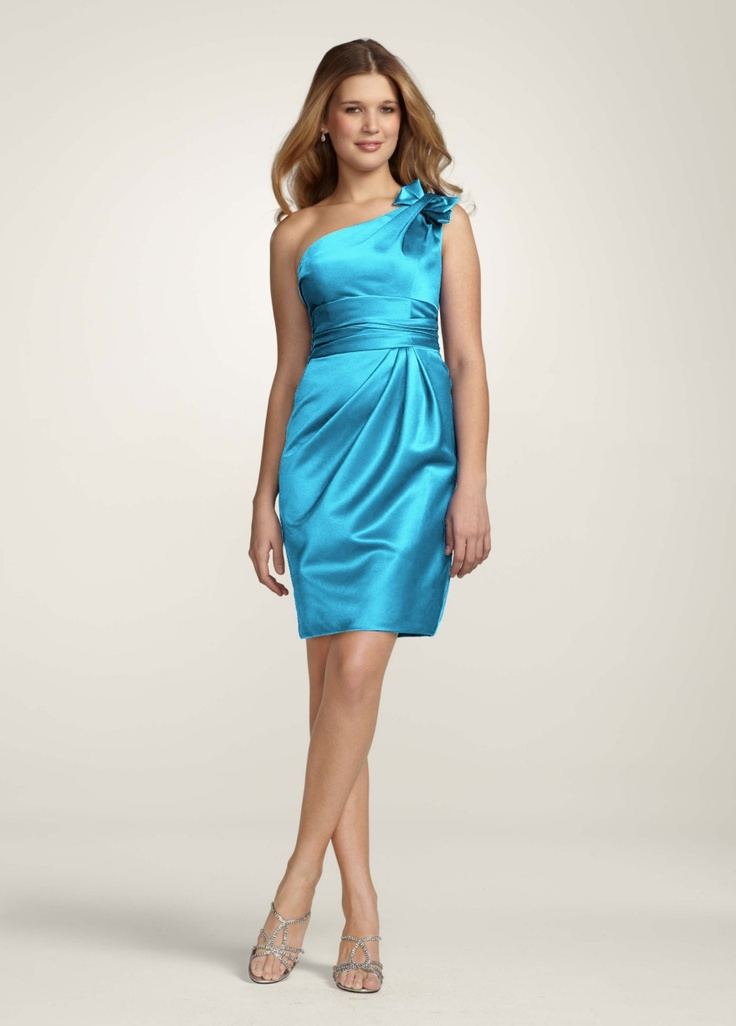 My sister's dress in the right color MALIBU for my wedding =)     hooray!David Bridal, Ideas, Davids Bridal, Style, One Shoulder Dresses, Davidsbridal, Bridesmaid Dresses, Satin, Colors