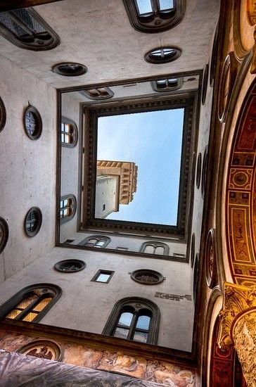 View up from the courtyard at the Palazzo Vecchio, Florence