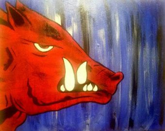 Official Arkansas Razorback painting Tusks on by HogHillArt