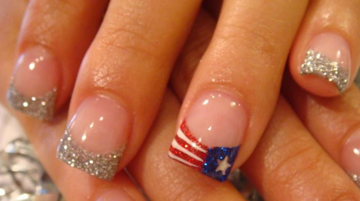 The Flag & Silver Glitter Nail Tips - Memorial Day Nail Art