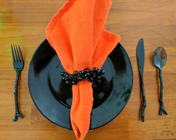 Halloween place setting in black and orange with plastic black twig silverware cutlery by A Sparkly Life for Me