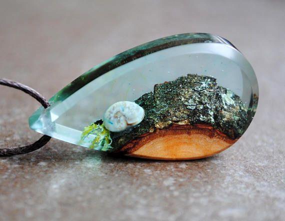 Anweisung Halskette, Harz Holz Halskette, Drop Anhänger, Unterwasserschmuck, Mo…