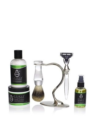 48% OFF eShave Shave Set S Nickel Plated with Badger Shave Brush and 3 Blades Razor, Verbena Lime Collection, Black