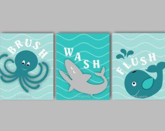 Bambini bagno Wall Art - bagno regole stampe - Kids bagno Arte - nautica bambini bagno stampe - scegliere colori - Splash Flush - Set di 4 8 x 10 stampe