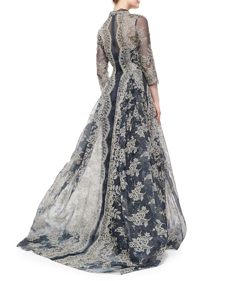 Carolina Herrera bordado Lace plissadas vestido