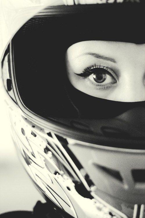 Female rider, full face helmet, beautiful