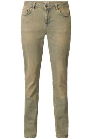 Jeans met vintage look Olijfgroen