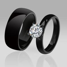 Anillos De Compromiso Negros Para Chicas Con Buen Gusto. Black Gold Wedding  RingsDiamond ...