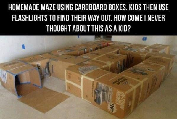 Cardboard maze. To hide pieces for the treasure hunt maybe?