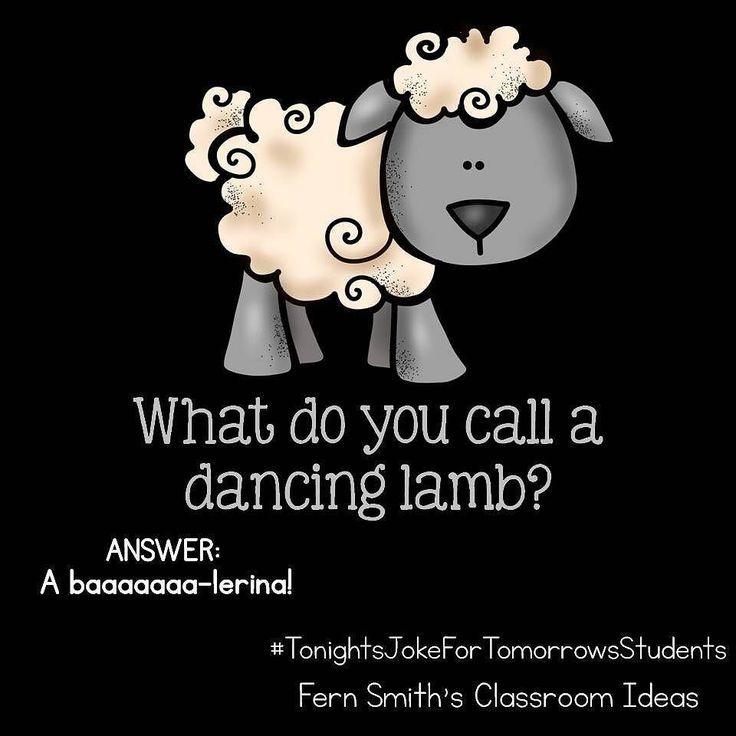 Tonight's Joke for Tomorrow's Students What do you call a dancing lamb? A baaaaaaaa-lerina! #TonightsJokeForTomorrowsStudents #FernSmithsClassroomIdeas