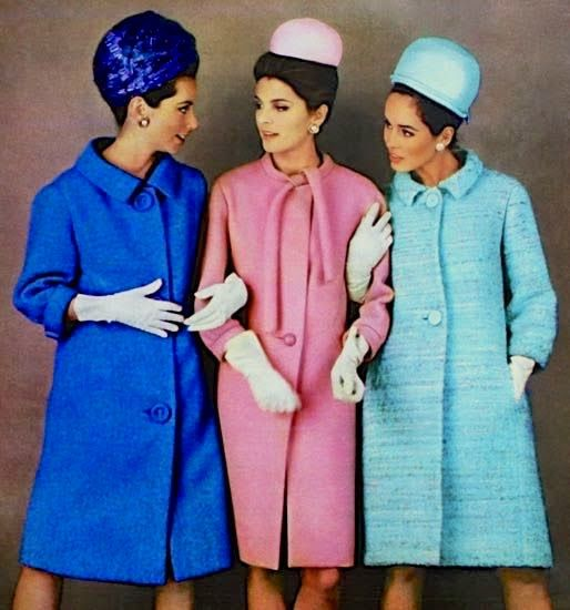Models wearing coats by Jeanne Lanvin, Pierre Cardin and Philippe Venet, photo Karen Radkai, Marie Claire (France) March 1963