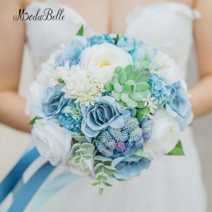 modabelle Rustic Wedding Bouquet Blue Rose Suculentas Beach Style Artificial Hand Made Flowers Bridal Bouquet Romantic 2018