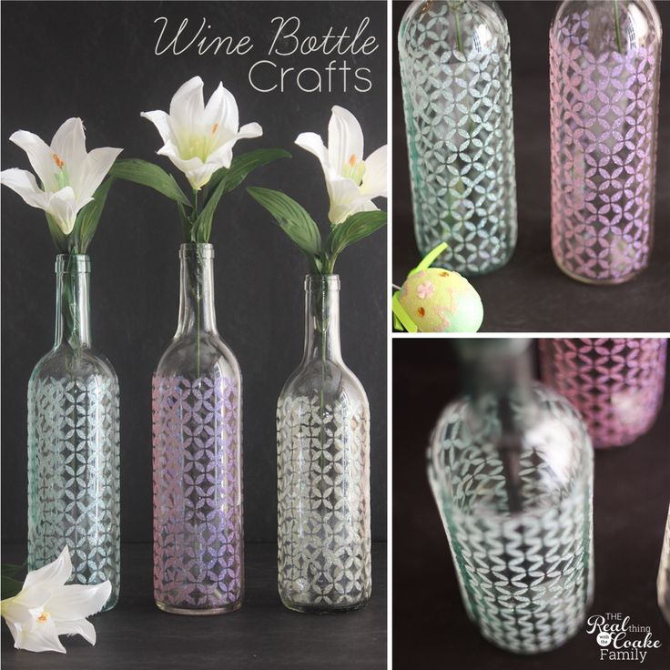 Make Glittery Vases from Empty Wine Bottles