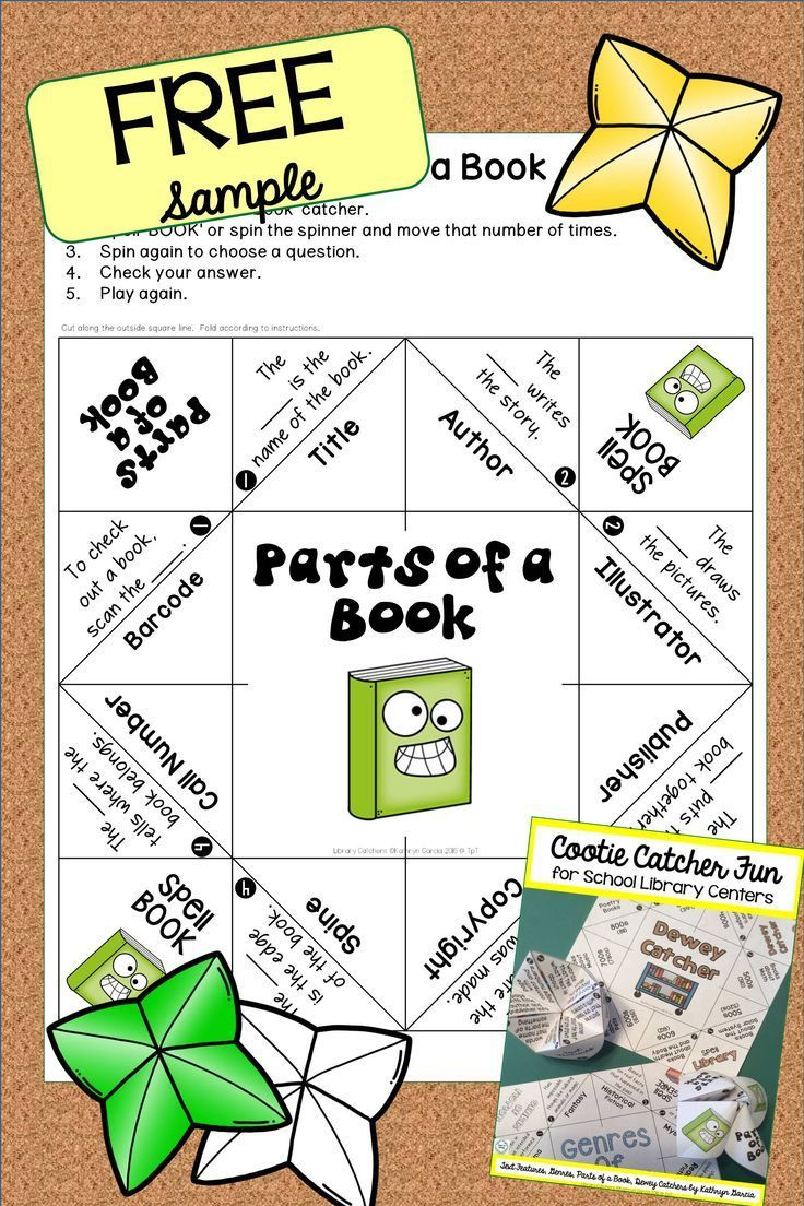 Fold up a fun cootie catcher...aka fortune teller for FREE and practice the Parts of a Book