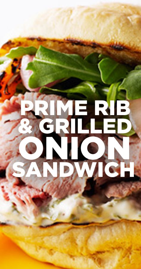 This mile-high Prime Rib, Grilled Onions and Arugula Aioli Sandwich is stacked with tender, thinly-sliced Prime Rib and nestled in a toasty warm bun along with grilled onions and arugula aioli.