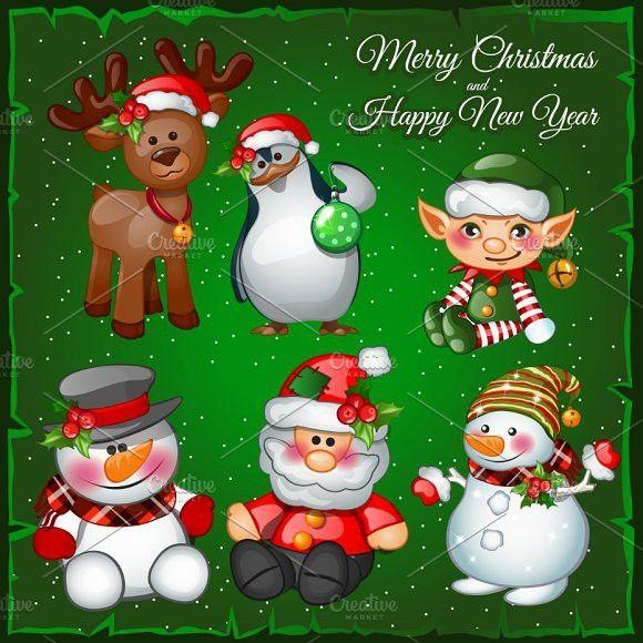 Snowman Santa And Team Green Backgrounds Christmas Design Holiday Vectors