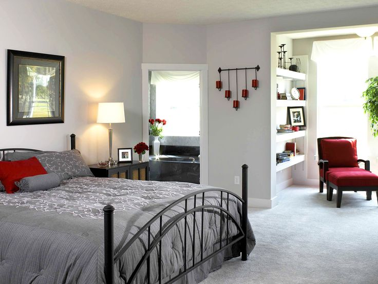 House Design,Enchanting Bedroom Interior Design With Nice Black Iron Bed Frame Complete With Gray Comforter And Beautiful White Table Lamp On Black Wood Credenza Also Comfortable Bathroom Plus Pretty White Floating Shelf Beside Windows,Top Choice Minimalist Modern Interior Design For Your Home