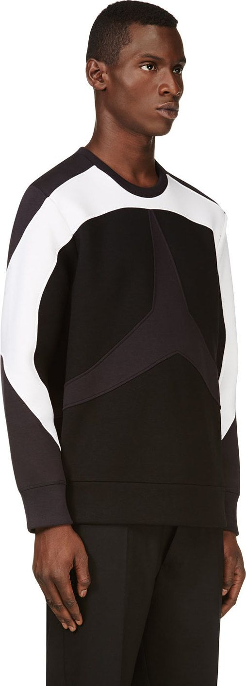 Neil Barrett: Navy & Black Star Inset Sweatshirt