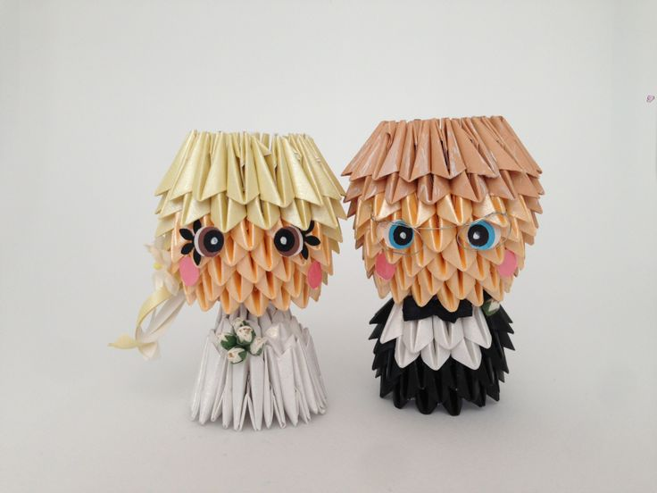 Handmade Wedding Cake Topper  3D Origami www.memyselfandte.com